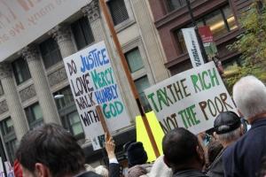 Photo taken at demonstration with Jane Addams Senior Caucus