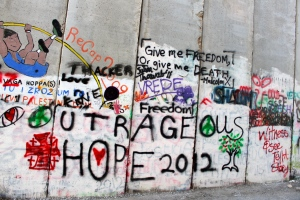 Our group's tag on the Wall: Outrageous Hope 2012